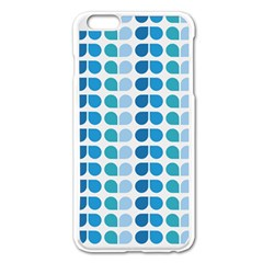Blue Green Leaf Pattern Apple iPhone 6 Plus Enamel White Case