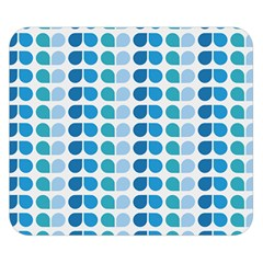 Blue Green Leaf Pattern Double Sided Flano Blanket (Small)