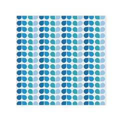 Blue Green Leaf Pattern Small Satin Scarf (Square)