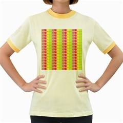 Colorful Leaf Pattern Women s Fitted Ringer T-Shirts