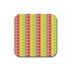 Colorful Leaf Pattern Rubber Coaster (square)