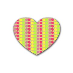 Colorful Leaf Pattern Rubber Coaster (heart)