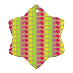 Colorful Leaf Pattern Snowflake Ornament (2-Side)