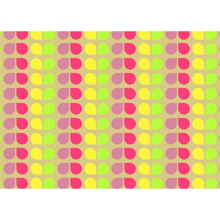 Colorful Leaf Pattern Birthday Cake 3D Greeting Card (7x5)
