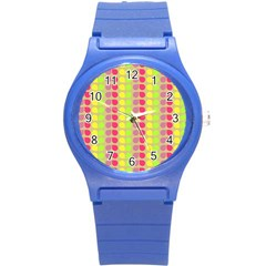 Colorful Leaf Pattern Round Plastic Sport Watch (s)