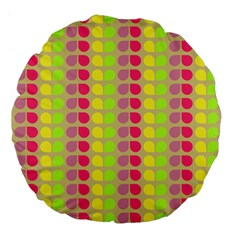Colorful Leaf Pattern Large 18  Premium Flano Round Cushions
