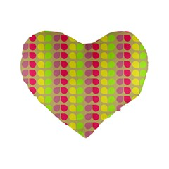 Colorful Leaf Pattern Standard 16  Premium Flano Heart Shape Cushions