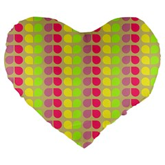 Colorful Leaf Pattern Large 19  Premium Flano Heart Shape Cushions