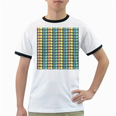 Colorful Leaf Pattern Ringer T Shirts