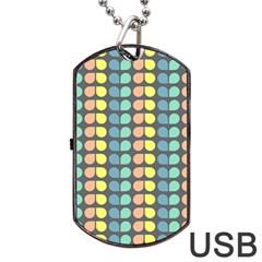 Colorful Leaf Pattern Dog Tag USB Flash (One Side)