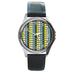 Colorful Leaf Pattern Round Metal Watches