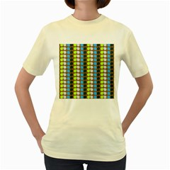 Colorful Leaf Pattern Women s Yellow T Shirt
