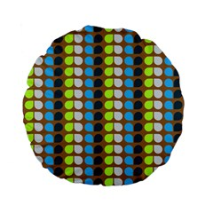 Colorful Leaf Pattern Standard 15  Premium Flano Round Cushions