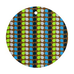 Colorful Leaf Pattern Round Ornament (two Sides)