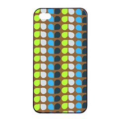 Colorful Leaf Pattern Apple iPhone 4/4s Seamless Case (Black)