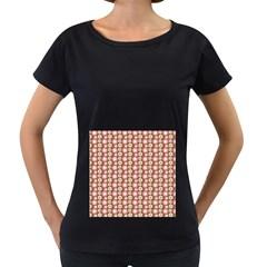 Cute Floral Pattern Women s Loose-Fit T-Shirt (Black)