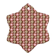 Cute Floral Pattern Snowflake Ornament (2-Side)