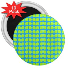 Blue Lime Leaf Pattern 3  Magnets (10 Pack)
