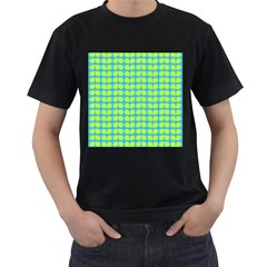 Blue Lime Leaf Pattern Men s T Shirt (black) (two Sided)
