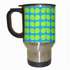 Blue Lime Leaf Pattern Travel Mugs (white)