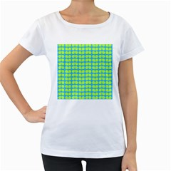Blue Lime Leaf Pattern Women s Loose Fit T Shirt (white)