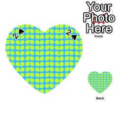 Blue Lime Leaf Pattern Playing Cards 54 (Heart)
