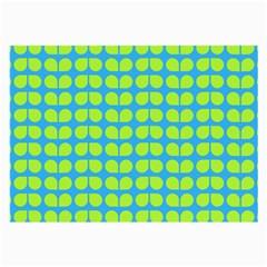 Blue Lime Leaf Pattern Large Glasses Cloth (2 Side)