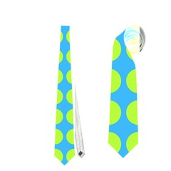 Blue Lime Leaf Pattern Neckties (Two Side)