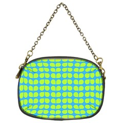 Blue Lime Leaf Pattern Chain Purses (two Sides)