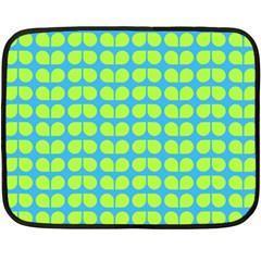 Blue Lime Leaf Pattern Fleece Blanket (Mini)