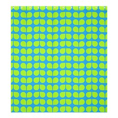 Blue Lime Leaf Pattern Shower Curtain 66  x 72  (Large)