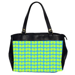 Blue Lime Leaf Pattern Office Handbags (2 Sides)