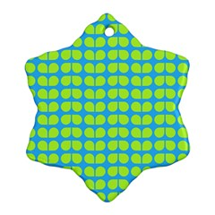 Blue Lime Leaf Pattern Ornament (snowflake)