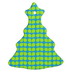 Blue Lime Leaf Pattern Christmas Tree Ornament (2 Sides)