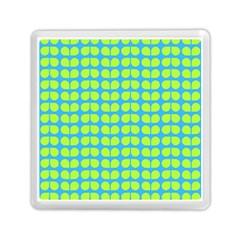 Blue Lime Leaf Pattern Memory Card Reader (Square)