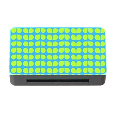Blue Lime Leaf Pattern Memory Card Reader with CF