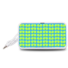 Blue Lime Leaf Pattern Portable Speaker (White)