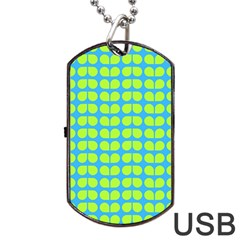 Blue Lime Leaf Pattern Dog Tag USB Flash (Two Sides)
