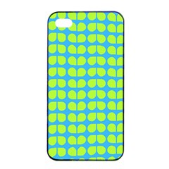 Blue Lime Leaf Pattern Apple Iphone 4/4s Seamless Case (black)