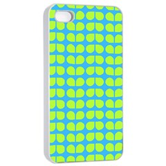 Blue Lime Leaf Pattern Apple iPhone 4/4s Seamless Case (White)