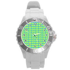 Blue Lime Leaf Pattern Round Plastic Sport Watch (l)