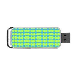 Blue Lime Leaf Pattern Portable Usb Flash (one Side)