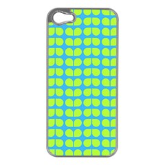 Blue Lime Leaf Pattern Apple Iphone 5 Case (silver)