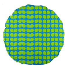 Blue Lime Leaf Pattern Large 18  Premium Round Cushions