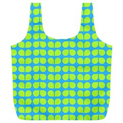 Blue Lime Leaf Pattern Full Print Recycle Bags (l)