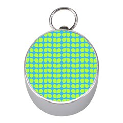Blue Lime Leaf Pattern Mini Silver Compasses