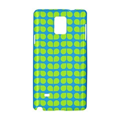 Blue Lime Leaf Pattern Samsung Galaxy Note 4 Hardshell Case