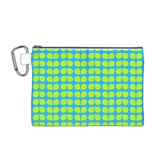 Blue Lime Leaf Pattern Canvas Cosmetic Bag (M)
