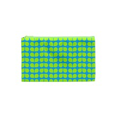 Blue Lime Leaf Pattern Cosmetic Bag (xs)