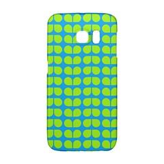 Blue Lime Leaf Pattern Galaxy S6 Edge